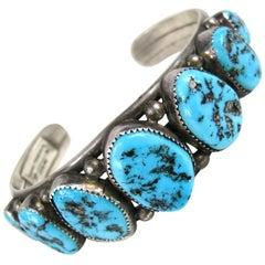 Sterling Silver Cuff Bracelet sleeping beauty Navajo Turquoise- Native American