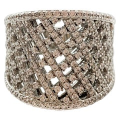 Sterling Silver Cuff Ring W/ 3.60 Carats of CZ Crystals