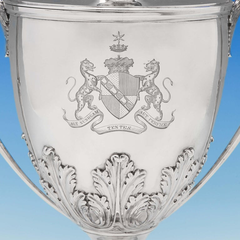 Neoclassical The Duke Of Dorset's Sterling Silver Cup and Cover Hallmarked London 1773 For Sale