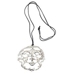 Sterling Silver Dali Inspired Signed Sculptural Pendant Necklace