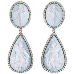 Sterling Silver Dancing Goddesses Jasperware Cameo Earrings