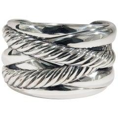 Sterling Silver David Yurman Cuff Bracelet Wide Rope Motif