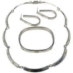 Sterling Silver DEMI-PARURE 1970s Bracelet, Earrings & Necklace, Mexican