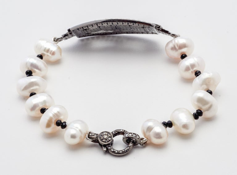 Women's Sterling Silver & Diamond Placket Bracelet with Baroque Pearls & Black Spinel  For Sale