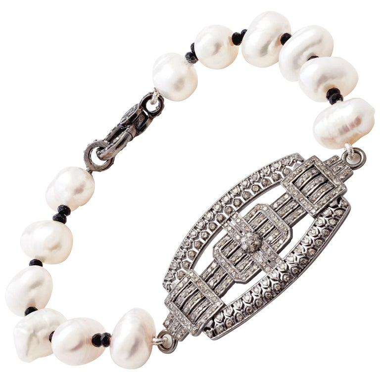 Sterling Silver & Diamond Placket Bracelet with Baroque Pearls & Black Spinel  For Sale