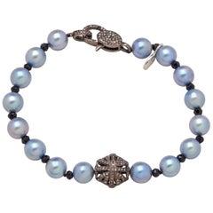 Sterling Silver Diamond Puff Charm Akoya Pearl Bracelet