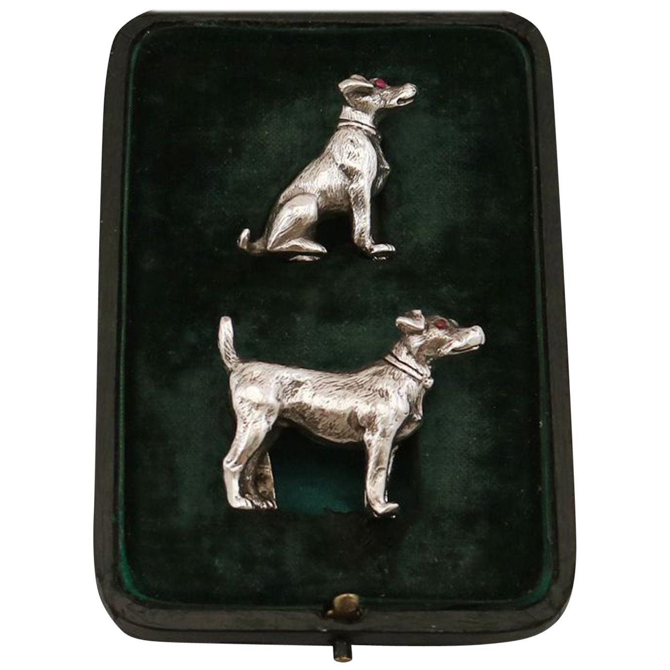Sterling Silver Dog Menu / Card Holders Antique George V