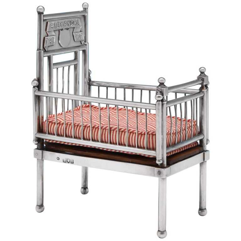 Sterling Silver Doll's House Cot For Sale