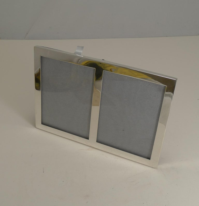 Art Deco Sterling Silver Double Photograph Frame by Cartier, circa 1930s For Sale