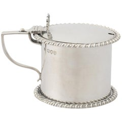 Sterling Silver Drum Mustard Pot, Antique Victorian