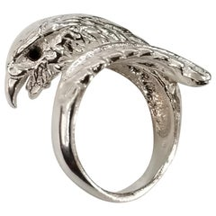 "Sterling Silver ""Eagle"" Ring with a Sapphire Eye"
