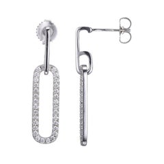 Sterling Silver Earrings CZ Links (24x8mm), Post Back, Rhodium Finish
