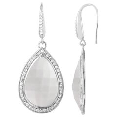 Sterling Silver Earrings, White Crystal and Mother of Pearl Doublet with CZ