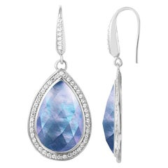 Sterling Silver Earrings, White Crystal, Mother of Pearl & Lapis Doublet with CZ