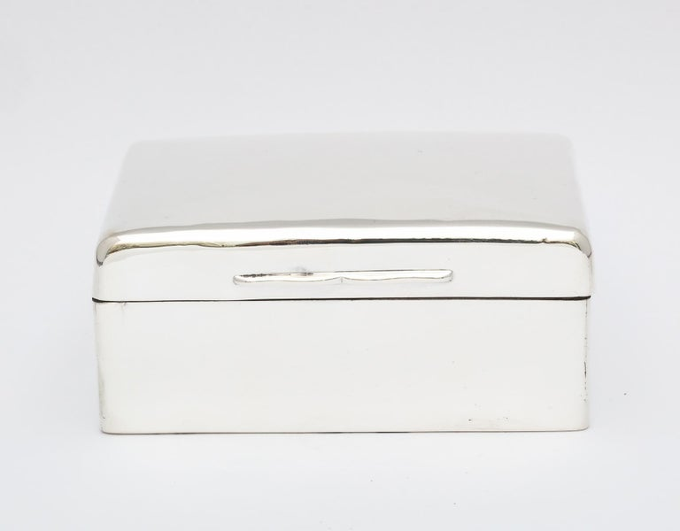 Sterling silver, Anglo-Indian (made for the Indian market) table box, London, 1915, Blackmore and Fletcher, Ltd. - makers. Retailed at Lahore, India. Hinged lid. Wood lined. Leather underside. Measures: 4 1/2 inches wide x 3 1/2 inches deep x 2