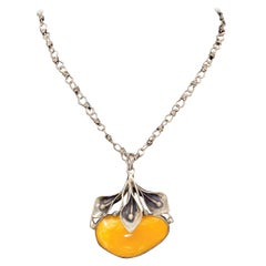 Sterling Silver Egg Yolk Baltic Amber Lilly Pendant Necklace Original 875 Chain