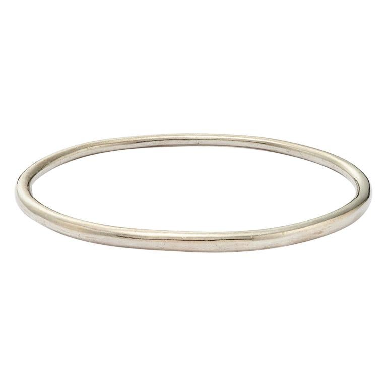 Sterling Silver Elliptical Bangle For Sale