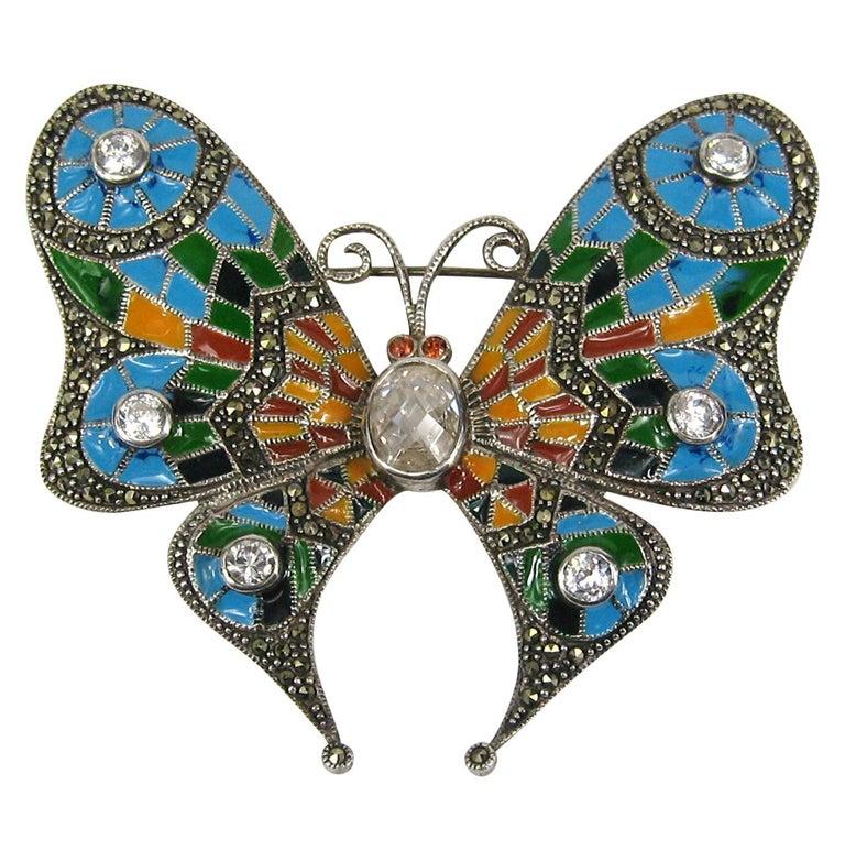 Sterling Silver Enamel Butterfly Pin Marcasite Brooch  For Sale