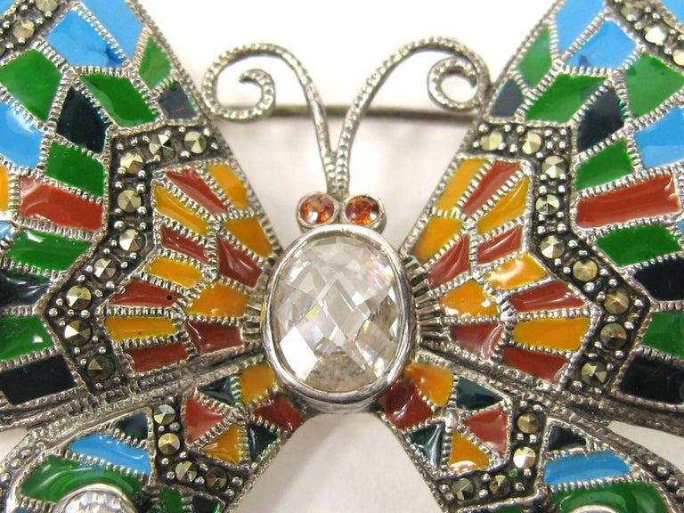 Women's or Men's Sterling Silver Enamel Butterfly Pin Marcasite Brooch  For Sale