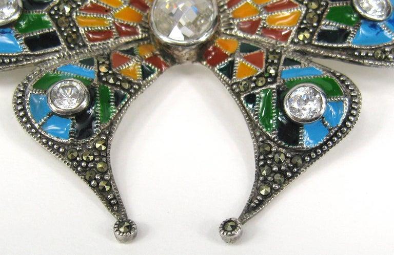 Sterling Silver Enamel Butterfly Pin Marcasite Brooch  For Sale 1