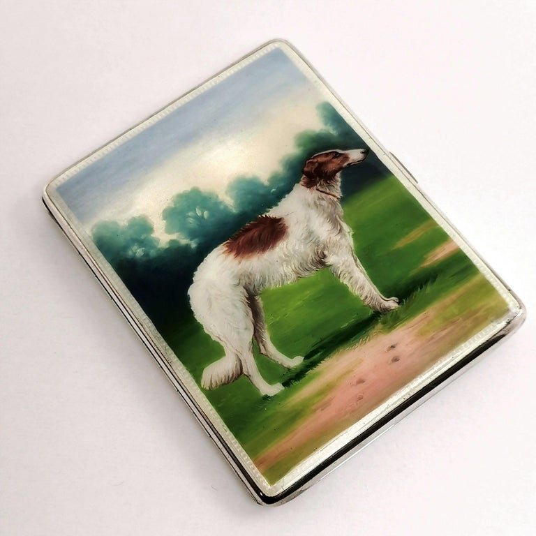 English Sterling Silver and Enamel Cigarette Case 1928 Borzoi Hunting Dog For Sale