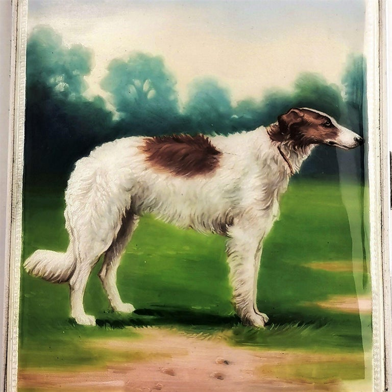 20th Century Sterling Silver and Enamel Cigarette Case 1928 Borzoi Hunting Dog For Sale