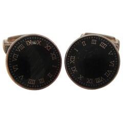 Sterling Silver Enamel Clock Face Cufflinks