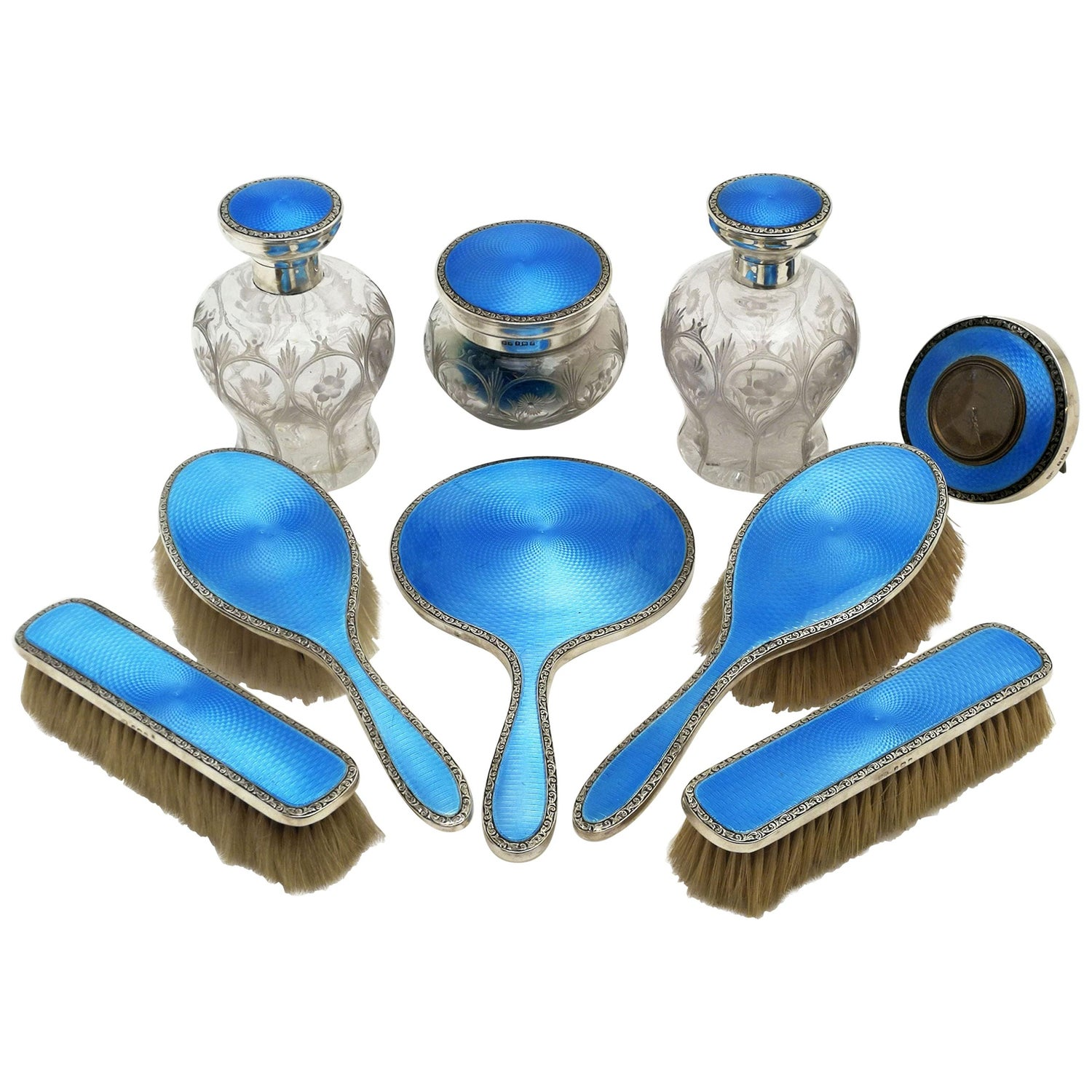 Sterling Silver and Enamel Dressing Set / Dressing Table / Vanity Set 1924 Large