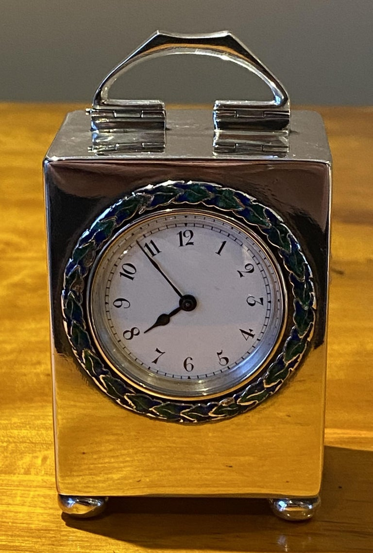 Sterling Silver Enamel Liberty's London Archibald Knox Miniature Carriage Clock For Sale 3