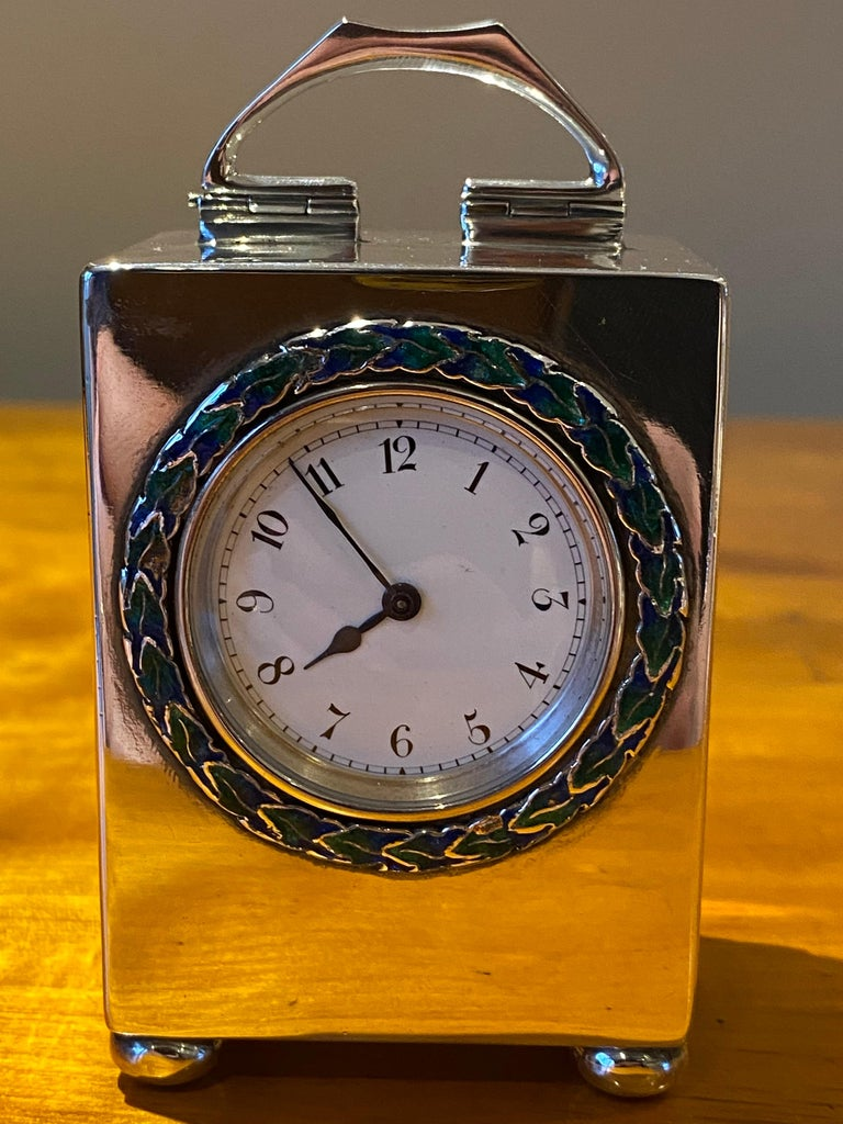 Sterling Silver Enamel Liberty's London Archibald Knox Miniature Carriage Clock For Sale 4