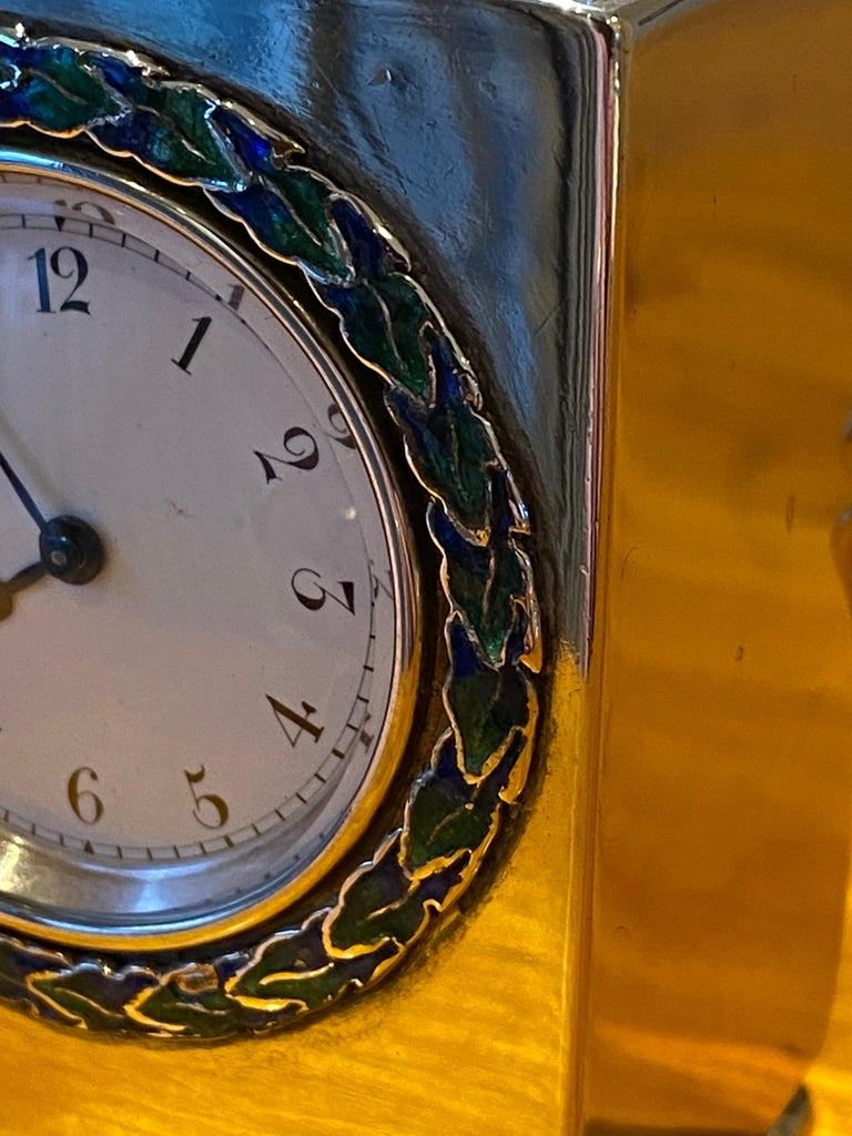 Sterling Silver Enamel Liberty's London Archibald Knox Miniature Carriage Clock For Sale 5