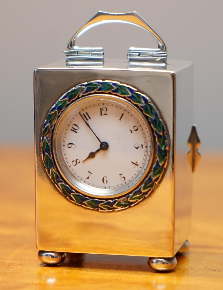 Edwardian Sterling Silver Enamel Liberty's London Archibald Knox Miniature Carriage Clock For Sale