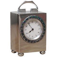 Sterling Silver Enamel Liberty's London Archibald Knox Miniature Carriage Clock