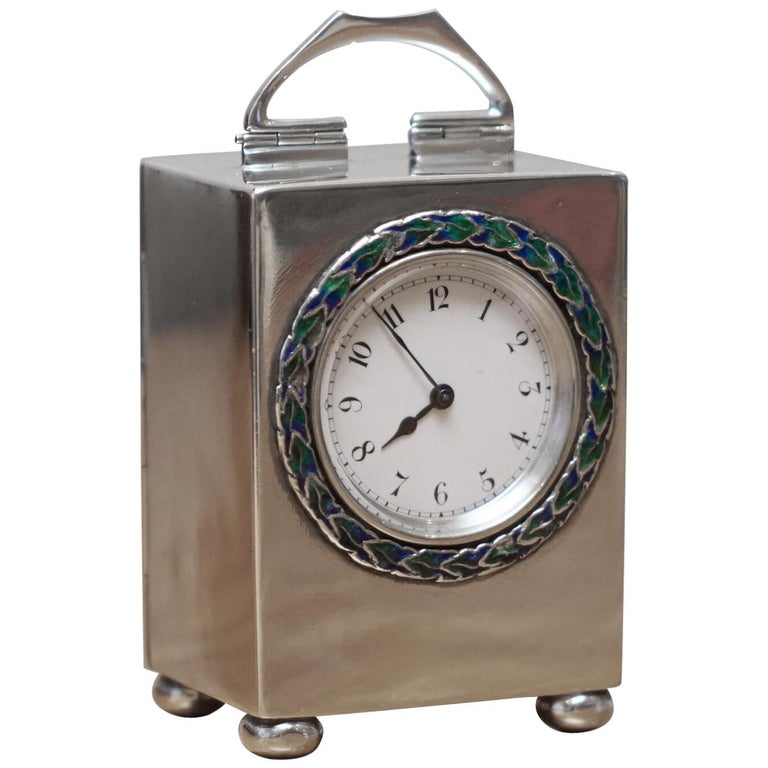 Sterling Silver Enamel Liberty's London Archibald Knox Miniature Carriage Clock For Sale