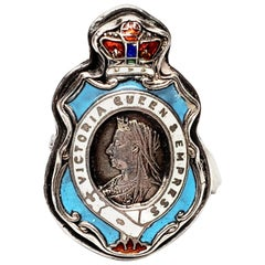 Sterling Silver Enamel Queen Victoria Empress Badge Ring