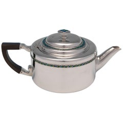 Antique Sterling Silver Enamelled Teapot by Liberty & Co. 1909