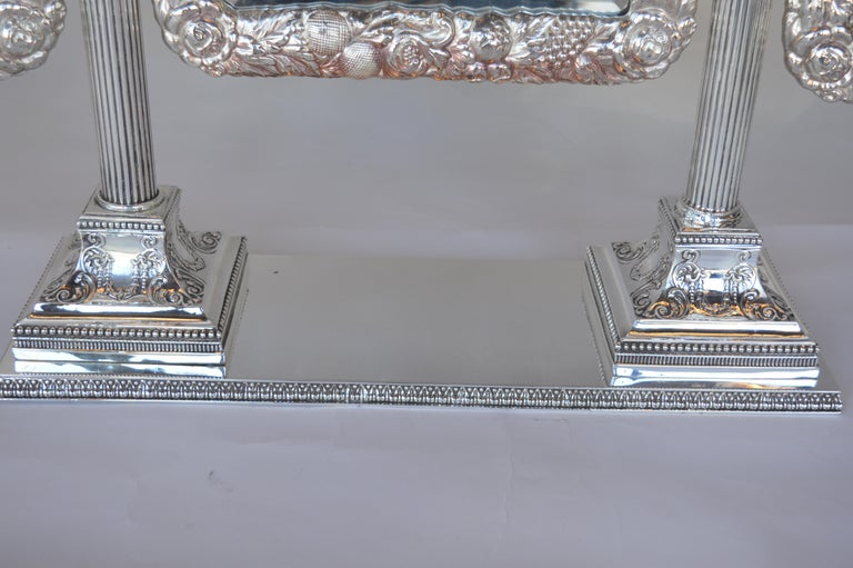 20th Century Bronze Silver Plated English Vanity Mirror For Sale