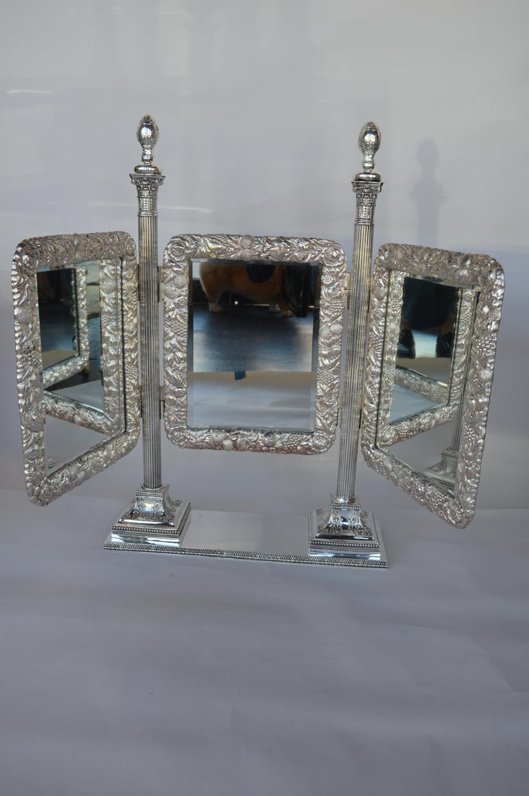 Bronze Silver Plated English Vanity Mirror For Sale 3