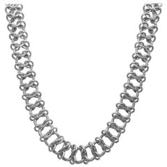 Stephen Dweck Sterling Silver Engraved Handwoven Chain Necklace