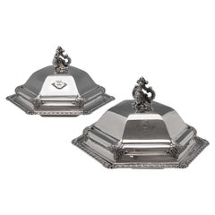 19th Century Victorian Hexagonal Sterling Silver Entree Dishes
