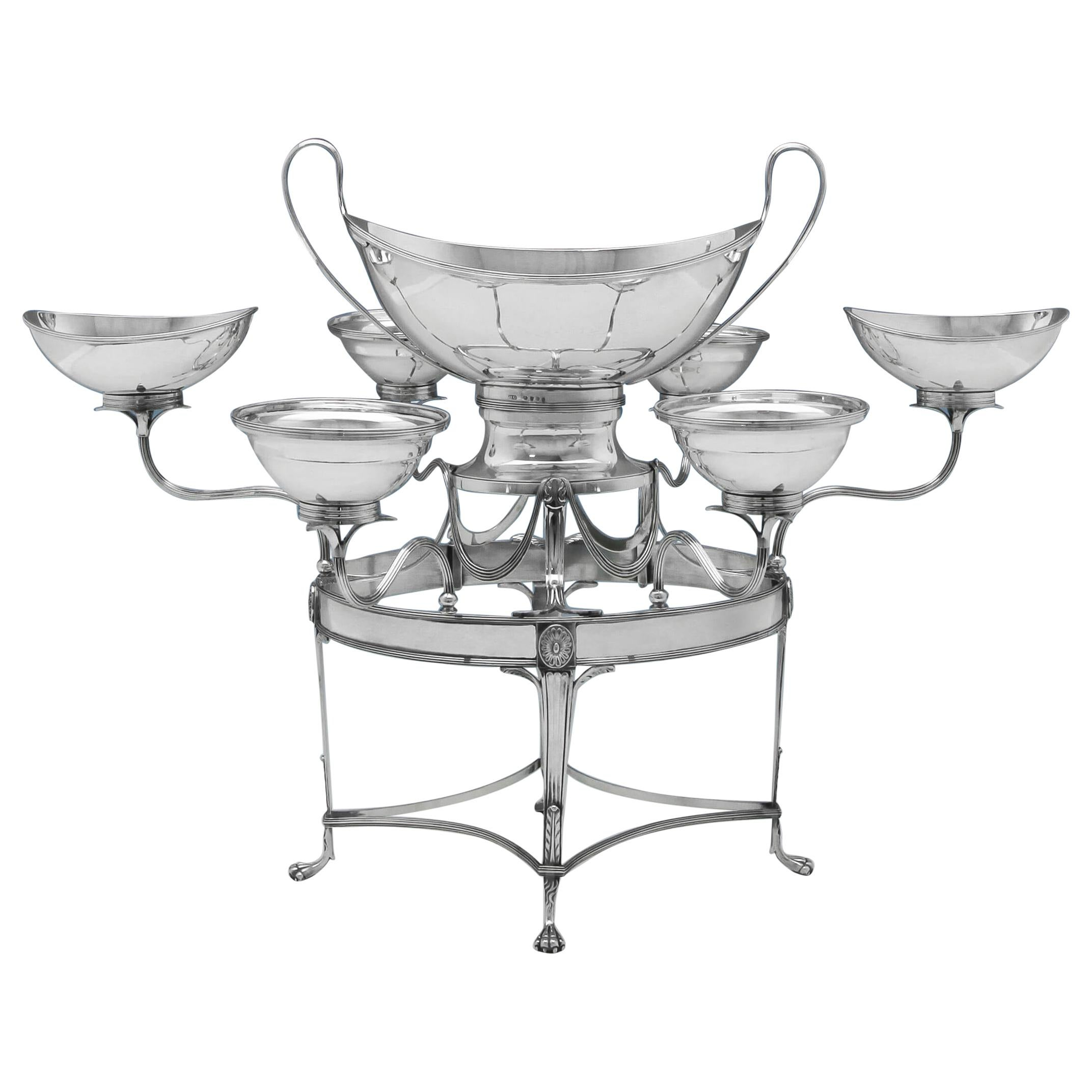 Neoclassical George III Antique Sterling Silver Epergne or Centrepiece from 1793