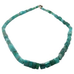 Sterling Silver Faceted Aquamarine Crystal Fashion Gemstone Necklace