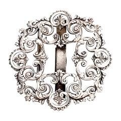 Sterling Silver Filigree Belt or Sash Buckle