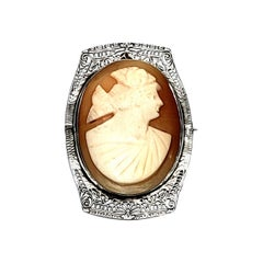 Sterling Silver Filigree Cameo Pin