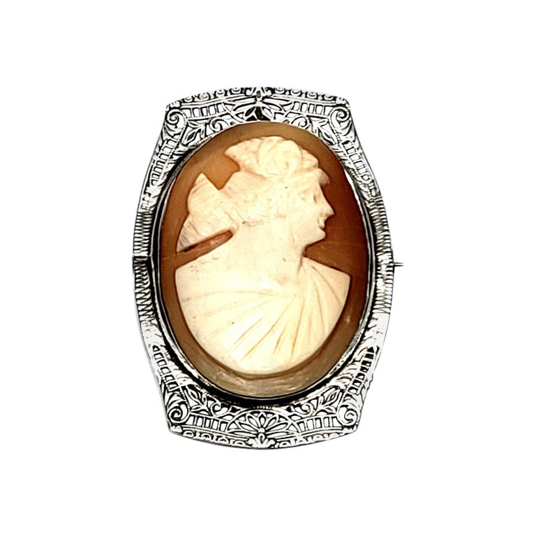 Sterling Silver Filigree Cameo Pin For Sale