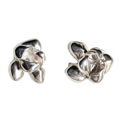Sterling Silver Film Award Transformer Iris Blossom Contemporary Stud Earrings