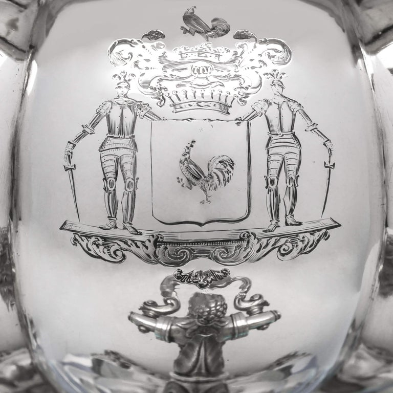 George IV Melon Design Antique Sterling Silver Five-Piece Tea and Coffee Set by Barnards For Sale