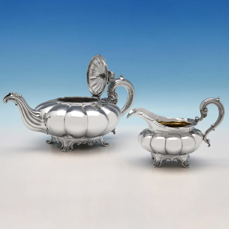 English Melon Design Antique Sterling Silver Five-Piece Tea and Coffee Set by Barnards For Sale