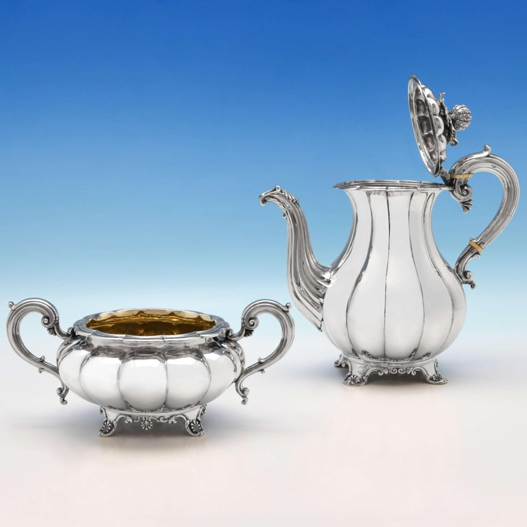 Melon Design Antique Sterling Silver Five-Piece Tea and Coffee Set by Barnards In Good Condition For Sale In London, London