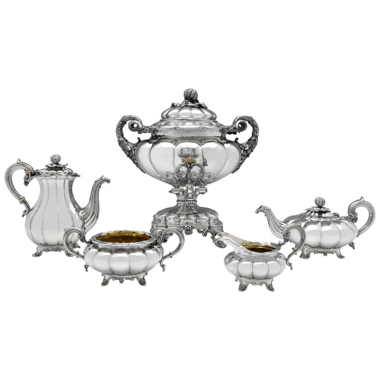 Melon Design Antique Sterling Silver Five-Piece Tea and Coffee Set by Barnards For Sale